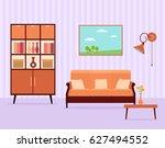 living room interior design in... | Shutterstock .eps vector #627494552