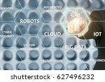 businessman touching industry 4.... | Shutterstock . vector #627496232