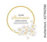gold flower wedding paper ... | Shutterstock .eps vector #627502586
