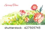 spring watercolor footer. red... | Shutterstock . vector #627505745