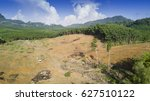 deforestation. aerial drone... | Shutterstock . vector #627510122
