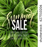 sale banner  poster with palm... | Shutterstock .eps vector #627510206