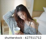 asian beautiful woman just wake ... | Shutterstock . vector #627511712