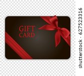 black gift card with red bow... | Shutterstock .eps vector #627523316