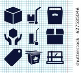 set of 9 cardboard filled icons ... | Shutterstock .eps vector #627535046