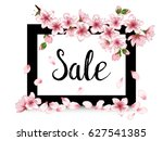 spring sale poster with black... | Shutterstock .eps vector #627541385