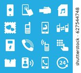 phone icons set. set of 16... | Shutterstock .eps vector #627544748