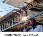 welding steel frame for sun... | Shutterstock . vector #627546965