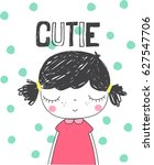 cute girl illustration.for... | Shutterstock .eps vector #627547706