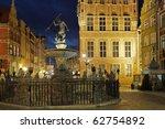 Neptune's Fountain, in the center of Long Market. Gdansk, Poland. - stock photo