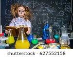 funny little girl doing... | Shutterstock . vector #627552158