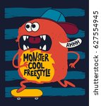 cute skater monster  vector... | Shutterstock .eps vector #627554945