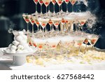 champagne pyramid on event ... | Shutterstock . vector #627568442