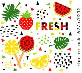 summer banner with watermelon... | Shutterstock .eps vector #627570212