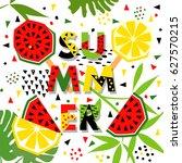 summer banner with watermelon... | Shutterstock .eps vector #627570215