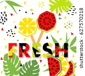 summer banner with watermelon... | Shutterstock .eps vector #627570218