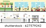 pizzeria interior set with... | Shutterstock . vector #627579242
