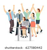 happy office workers. isolated... | Shutterstock . vector #627580442