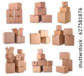 cardboard boxes on white...   Shutterstock . vector #627581876