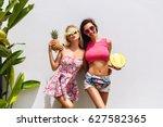 happy summer time of joyful... | Shutterstock . vector #627582365