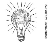 lightbulb ideas concept doodles | Shutterstock .eps vector #627585692