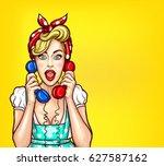 vector pop art illustration of... | Shutterstock .eps vector #627587162