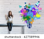 young woman with laptop sitting ... | Shutterstock . vector #627589946