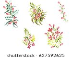 beautiful watercolor floral... | Shutterstock . vector #627592625