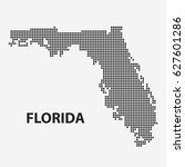 dotted map of the state florida.... | Shutterstock .eps vector #627601286