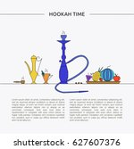 hookah time concept. template... | Shutterstock .eps vector #627607376