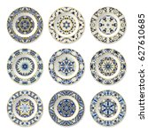 set of decorative plates with a ... | Shutterstock .eps vector #627610685