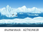 cartoon nature winter arctic... | Shutterstock . vector #627614618