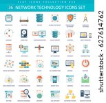 network technology color flat... | Shutterstock . vector #627614762