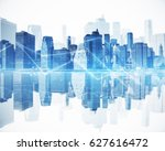 abstract blue city with... | Shutterstock . vector #627616472
