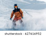 snowboarder is riding with... | Shutterstock . vector #627616952