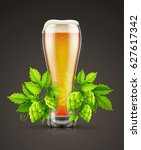 glass of light lager beer with... | Shutterstock .eps vector #627617342