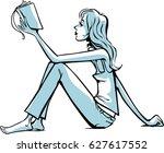 girl reading a book   Shutterstock .eps vector #627617552