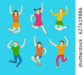 cheerful kids jumping and... | Shutterstock .eps vector #627619886