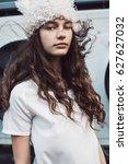 streetstyle  fashion. portrait... | Shutterstock . vector #627627032