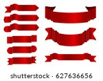 realistic red ribbons vector... | Shutterstock .eps vector #627636656