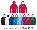 sportswear hoody    front and... | Shutterstock .eps vector #627643922