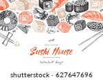 vector card design with ink... | Shutterstock .eps vector #627647696