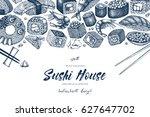 vector card design with ink... | Shutterstock .eps vector #627647702