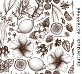 Vector background with hand drawn tea illustration. Decorative seamless pattern with vintage herbs and fruits sketch.