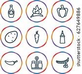 set of 9 ingredient outline...   Shutterstock .eps vector #627649886