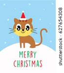 cute kitten merry christmas... | Shutterstock .eps vector #627654308