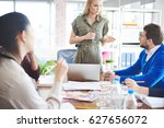 young coworkers sharing... | Shutterstock . vector #627656072
