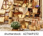 shopping for straw bags in... | Shutterstock . vector #627669152