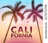 california background with palm.... | Shutterstock .eps vector #627673796