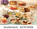 british afternoon tea  scones... | Shutterstock . vector #627676406